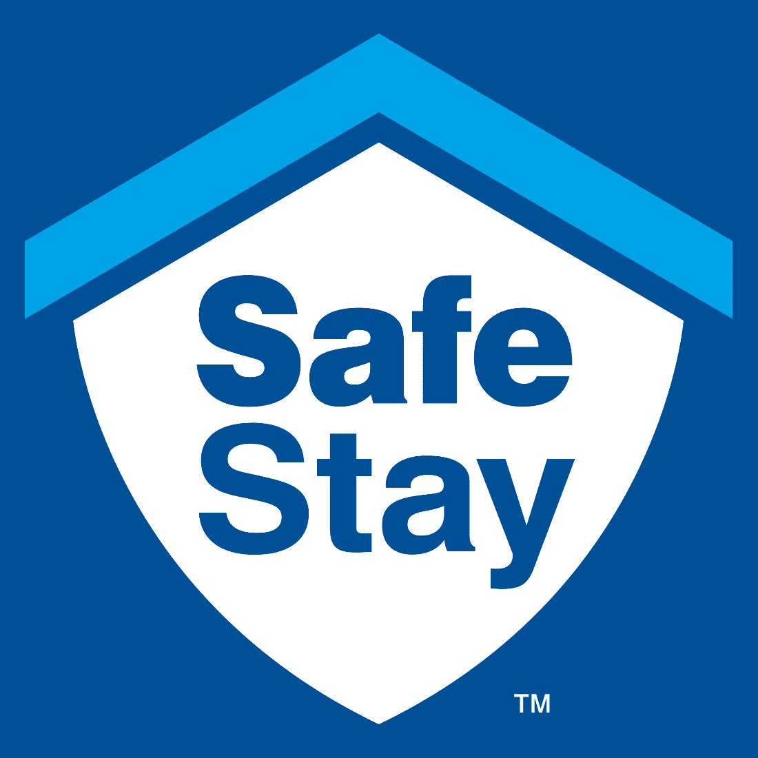 safe stay logo white shield with light blue