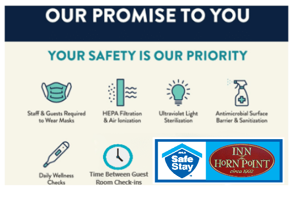 Our COVID Promise Plus Time Stay Safe Graphic with images depicting different precautions for sanitary measures, with our logo and stay safe logo in the bottom right hand corner