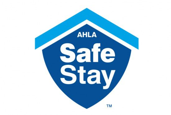 safe stay logo blue shield, white lettering